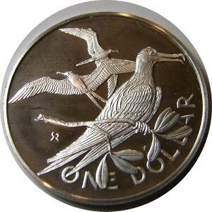 elf British Virgin Islands 1 Dollar 1975 Silver Proof Frigate  Bird