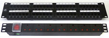 "Cat5E 19"" 48 Port Patch Panel + 7 Way Power Unit Comms Rack Data Network Cabinet"