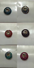 coloured crystal diamante brooch with clear gem in centre 2.3 cm