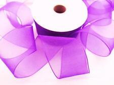 "25 yard Spool/Roll Organza Sheer 1.5"" Wide Ribbon/Craft/Gift/Wedding Or15-Purple"