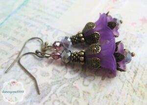 Handmade purple Lucite lily flower & crystal beads vintage style earrings  #174