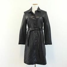 Adler Womens Sz S Black LAMB SKIN Knee Length Coat Button Front Belted Sz SMALL