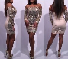 Connie's Gold Sequin Stunner!!  See Thru front Sheer Stretch Club Dress  L