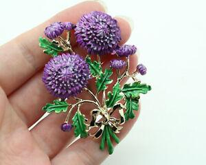 Vintage 1950s Exquisite Purple Chrysanthemum Multi Flower Brooch Birthday Series