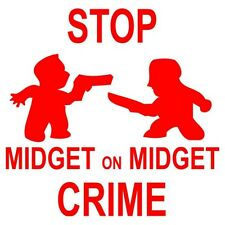 Stop Midget On Mideget Crime Adult Mens T-Shirt Tee S M L XL 2XL 3XL New