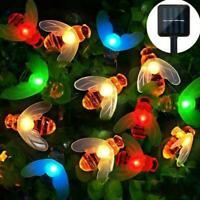 LED Solar kleine Biene Lichterkette Outdoor Aquarell Dekoration Garten L3L4