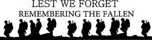 Lest We Forget Heroes Soldier/Military/Charity  Car / Van Sticker (Vinyl Decal)