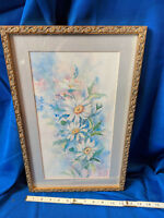 Gladys Moore Indiana Signed Original Watercolor Painting Flowers Gold Ornate #2