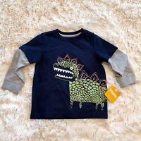 NWT Gymboree Baby Boys Dinosaur Shirt Long Layered Sleeve Navy Blue Sz 18-24M