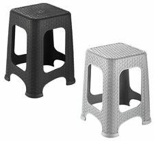 LARGE RATTEN PLASTIC STEP STOOL INDOOR OUTDOOR MULTIPURPOSE STACKABLE CHAIR