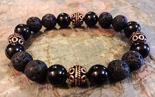 Men's Premium Copper/10mm Lava/Black Obsidian Signature Series Zen Bracelet