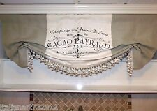 Custom Made Large French Country Script Linen And Burlap Valance