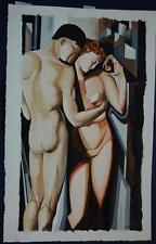 Beautiful Original Watercolor After Tamara de Lempicka Adam and Eve Signed KAS