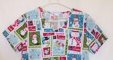 Nurse Scrub Christmas Let It Snow SB Scrubs Small  Holiday Snowman Birds V-Neck