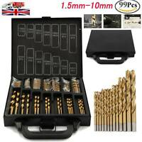 Titanium Drill Bit Set Kit for Metal 99 PCS Coated HSS - From 1.5mm to10mm Bits