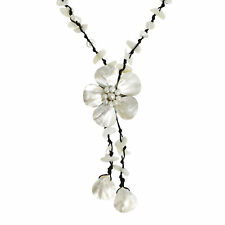 Pretty Mother of Pearl Shell Flower Wax Rope Necklace