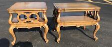 Pair Weiman Heirloom NeoClassical Hollywood Regency Burl Wood End Tables Vintage