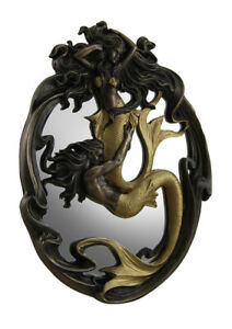 Holding On Merman & Mermaid In a Fluid Embrace Bronze & Gold Finish Wall Mirror