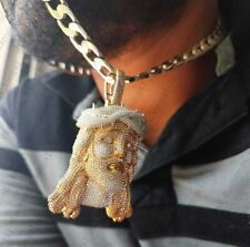 """14K Yellow Gold Over Unique """"God Jesus"""" Ice Out 7.65 ct Diamond Charm Pendent"""