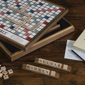 Scrabble Deluxe Vintage Wood Game Set with Lazy Susan - NEW