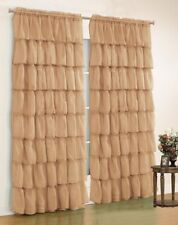 2 Pc.Gypsy Crushed Voile Sheer Ruffled Window Curtain Treatment Panel Drape-Gold