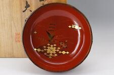 Japan OUCHI-NURI Gold URUSHI Sweets Bowl w/box Free Shipping 576e10