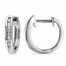 10k White Gold 1/4 Ct Diamond TDW Cuff Hoop Earrings HI I2;I3