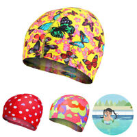 UK Unisex Flower Print Swimming Cap Elastic Soft Sporting Goods Beach Fashion