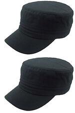 2X NEW PLAIN CADET CASTRO MILITARY STYLE HAT CAP BLAk
