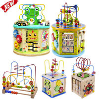 Child Learning Wooden Activity bead Cube Maze Toys kids Circle Educational Gift