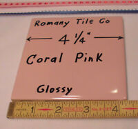 *Coral Pink* Glossy Ceramic Radius Bullnose Tile; Romany Co 1pc made 1950/'s