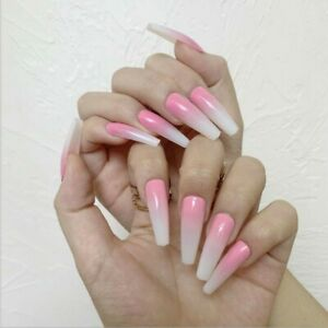 Glossy Long Coffin Ballerina Ombre White Pink natural Fake False Press On Nails