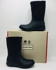 Hunter Women's Roll-Top Round-Toe Rain Boot Size 6 Black, MSRP $125