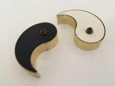 Original GV Harnisch, Danish yin and yang black and white small brass oil lamps