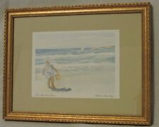 """MICHELLE KENNEDY """"FIRST DAY AT THE BEACH"""" VINTAGE SIGNED PRINT FRAMED"""