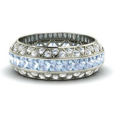3.50 Ct Certified Real Diamond Aquamarine Eternity Band 14K White Gold Ring Size