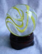 Beautiful Clear w Yellow Swirls Marble - 42.0 mm  & 95  grams