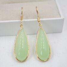 18K GP Hook with Green Jade Long Pear Charm 44mm H Dangle Earrings