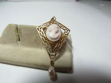 Antique 10K Solid Gold Lavaliere Pendant W / Hand Carved Shell Cameo