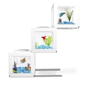 BioBubble Deco Cube Betta Fish Habitat - White 3 pack Mini Aquariums