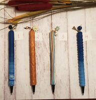 NEW*Handmade Decorative Interchangeable Clay Pens With Dangle Charms Blue Gold