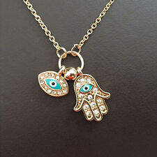 1Pcs Fatima Hamsa Hand Chain Blue Evil Eye Necklace Pendant For Parties Decor HF