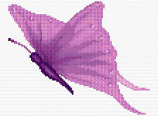 "Purple Butterfly - Mini/Starter Cross Stitch Kit 6"" x 8"" - 14 Count Aida, Anchor"