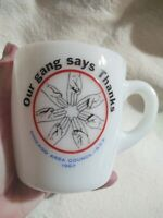 Boy Scout Mug Coffee Cup Chicago Area Council BSA 1967 Milk Glass Our Gang VTG