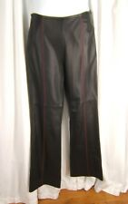 "ESCADA Sz 40 M 10 Black Lamb Skin Leather Red Top Stitched Lined Pants 30"" X 33"""