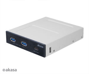 Akasa AK-ICR-32 Front Panel for USB 3.1 Gen2 Type C with Dual Type A Ports
