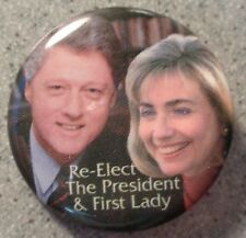 Hillary & Bill Clinton 1996 Re-elect President & First Lady pin pinback button