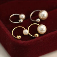 1 Pair Women Fake Clip-on Pearl Earring Cartilage Cuff Clip Wrap Non Piercing