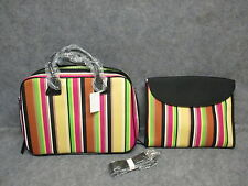 Colorful Bright Striped Computer Laptop Business Briefcase Travel Bag w/Strap