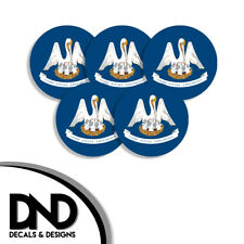 Louisiana State Flag LA Circle Sticker USA Helmet Decal 5 Pack 2.5in